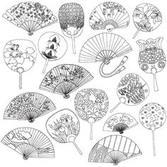 Japanese hand fans coloring page -- love this pattern! Very pretty! People everywhere are entranced by Japanese art, and with good reason. Here are the very best Japanese coloring books for adults. Fan Drawing, Japanese Art, Japanese Patterns, Art Drawings, Drawings, Doodle Art, Vintage Coloring Books, Illustration Art, Art