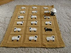 Ravelry: Sheep Baby Blanket pattern by Jean Guirguis Knitting Charts, Baby Knitting Patterns, Loom Knitting, Baby Patterns, Crochet Sheep, Knit Or Crochet, Knitted Baby Blankets, Baby Blanket Crochet, Rugs