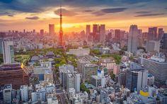 Lataa kuva Tokio, Japani, sunset, kaupungin panorama, Tokyo Tower, illalla