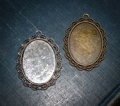 6 - Oval  shaped Beaded Edged Blank Pendant setting approx. 30 mm x 40 mm Blank photo Trays Charms