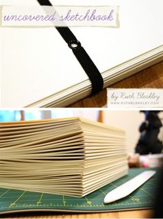 Coverless coptic stitch book with elastic - This website also has some other links and info on how to bind books.