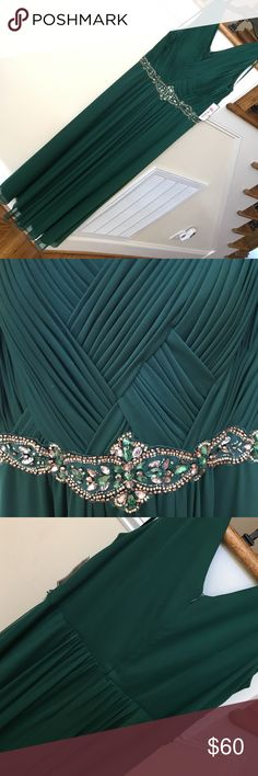 "Emerald Green formal dress with gold beading NWT Emerald Green formal dress with gold beading NWT by Jessica Howard. Comes with sheer scarf. Woven braided style at bust. Approx 61"" shoulder to hem. New with tags. Jessica Howard Dresses Prom"