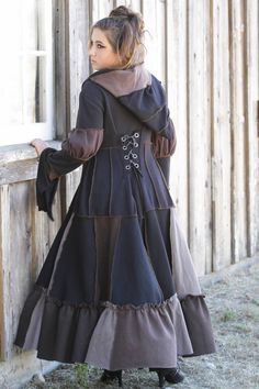 Victorian Full Length Hoodie Size Large in Black and Browns, recycled, up-cycled sweatshirt Coat.