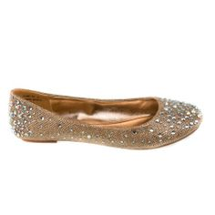 bbd1343fbb479b Clore10 Gold Glitter Iridescent Rhinestone Studs Women Ballet Flat Shoes-6  Sully s