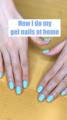Acrylic Nails At Home, Gel Nails At Home, Gel Nail Tips, Diy Gel Nails, Nail Painting Tips, Simple Nail Art Videos, How To Grow Nails, How To Paint Nails, Blue Gel Nails