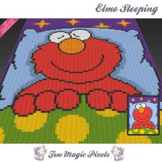 Elmo Sleeping is a colorful graph pattern inspired by a character from Sesame Street. This graph design is 80 squares wide by 100 squares Graph Crochet, Chevron Crochet, Pixel Crochet, C2c Crochet, Manta Crochet, Afghan Crochet Patterns, Baby Blanket Crochet, Crochet Baby, Crochet Blankets