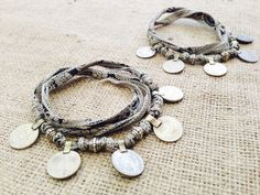 Bohemian Gypsy Coin Anklet Set w Black and Grey Silk by gypsykicks