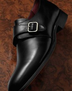 Black calf leather monk strap shoes. Made in Northampton, England