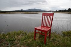 The Red Chair Travels to Sandlake Estuary as a guest of Sandlake Country Inn #redchairtravels #oregoncoast #traveloregon #tillamookcoast