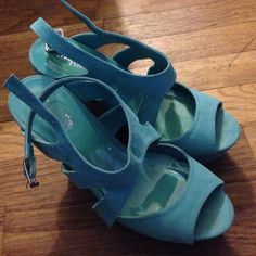 Turquoise Wedges Charlotte Russe turquoise wedges, suede on top, size 8! Very cute! Just never wear!! Smoke free home! Charlotte Russe Shoes Wedges