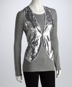 Take+a+look+at+the+Ash+&+Sara+Silver+Sequin+Vest+-+Women+on+#zulily+today!
