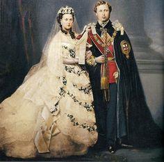 "Wedding of Edward VII ""Bertie"" (Albert Edward) (1841-1910) Prince of Wales, UK & Princess Alexandra (1844-1925) Denmark by unknown artist in 1863.  Edward VII (Albert Edward) was 2nd child of Queen Victoria (1819-1901) UK & Prince Albert (1819-1861) Saxe-Coburg & Gotha, Germany. Princess Alexandra was 2nd child of King Christian IX (1818-1906) Denmark & wife Queen Louise (1817-1898) Hesse-Kassel, Germany."
