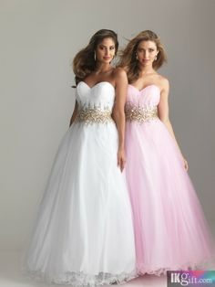 Ball Gown Sweetheart Tulle and Sequins Long Prom Dress