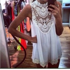 "Boho Goddess Crochet Lace Dress Boho Goddess Crochet Lace Dress. Can be worn as a mini dress or long top. ivory/white in color. Semi-sheer.   Bust: 40""  Length: 31"" Price firm unless bundled.   #5B525 523 Boutique Dresses"