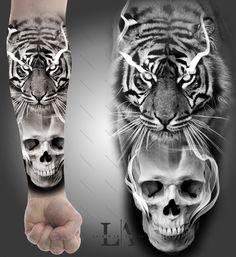 Chicano Art Tattoos, Skull Tattoos, Forearm Tattoos, Animal Tattoos, Lion Tattoo Sleeves, Sleeve Tattoos, Tiger Skull, Tiger Tattoo Design, Realism Tattoo