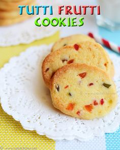 Egg free cookies recipe with candied payapa (tutti frutti) | Eggless tutti frutti recipe