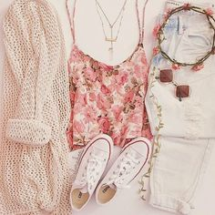 Floral Tank and Light Denim Jeans with White Converse