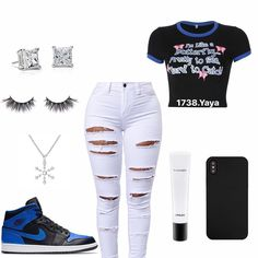 🖤💙 Pinterest:@xymne 💙🖤 Dope Swag Outfits, Swag Outfits For Girls, Cute Teen Outfits, Cute Outfits For School, Cute Summer Outfits, Teen Fashion Outfits, Trendy Outfits, Jordan Outfits, Nike Outfits