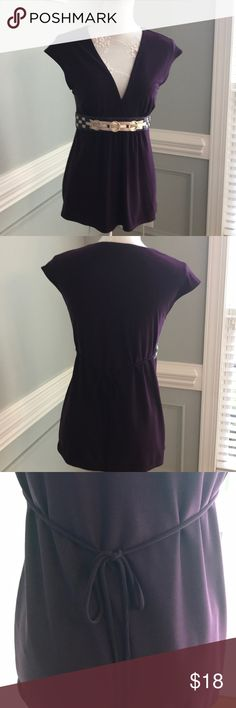 One Clothing Purple V Neck  Front Embellished Belt Love this ! Purple V Neck wrap Style Blouse , With Attached Front purple and Metallic Belt , Tie strings in back ! 💜 VG UC Armpit to armpit is 20 in lying flat with lots of room for stretch! Length is 25 ONE WORLD Tops Blouses