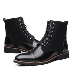 Men Vintage Cap Toe Outdoor Wearable Lace Up Ankle Boots is fashionable, come to NewChic to buy mens boots online. Lace Up Ankle Boots, Leather Ankle Boots, Leather Heels, Cow Leather, Combat Boots, Mens Boots Online, Plastic Heels, Warm Snow Boots, Mens Winter Boots