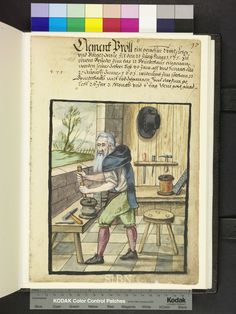 """Amb. 317b.2° Folio 67 recto """"the brother is working in stand and operated with both hands the crank of a lyre, with their help, he pulls the wire through the on the bench-mounted pull iron. on the table are the necessary tools hammer and awl ready in the wall bracket put another hammer, an awl and a venal, stand in front of a coil with brass wire and a pulling iron."""""""
