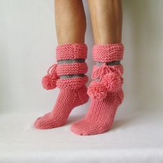 Knitted Boots Booties For Her Slippers for Women by mymomsshop1