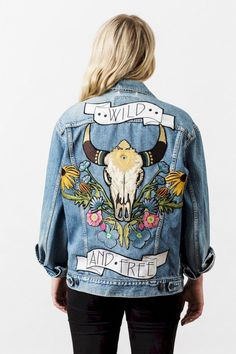 Denim and Bone 'Wild and Free' embroidered denim jacket - Jeans Jacket - Ideas of Jeans Jacket - Denim and Bone 'Wild and Free' embroidered denim jacket Painted Denim Jacket, Painted Jeans, Painted Clothes, Custom Clothes, Diy Clothes, Denim Kunst, Mode Country, Demin Jacket, Denim Jacket With Patches