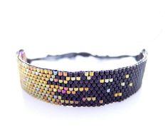 Black Beaded Bracelet, Cotton Cord Bracelet, Stardust Pixel Effect, Gold Cord Bracelet, OOAK Handmade by JeannieRichard