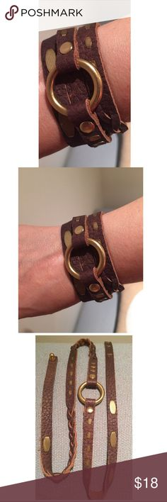 Boho Brown Leather Gold Brass Ring Wrap Bracelet More description to follow shortly..... Jewelry Bracelets