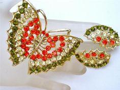Vintage Rhinestone Butterfly Set Brooch Earrings Gold Figural Demi Orange Green | eBay