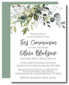 Leafy Greenery First Communion Invitations First Communion Cards, Holy Communion Invitations, First Holy Communion, Diy Invitations, Baby Shower Invitations, Shower Favors, Invitation Cards, Plywood Furniture, Catholic Communion