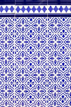 Andalusian style spanish blue ceramic tiles pattern