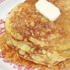 "Buttermilk Oatmeal Pancakes Allrecipes.com.  It's a good ""plain"" pancake recipe.  It's very versatile and can be made into many flavors: fruit, cinnamon, pumpkin, etc..."