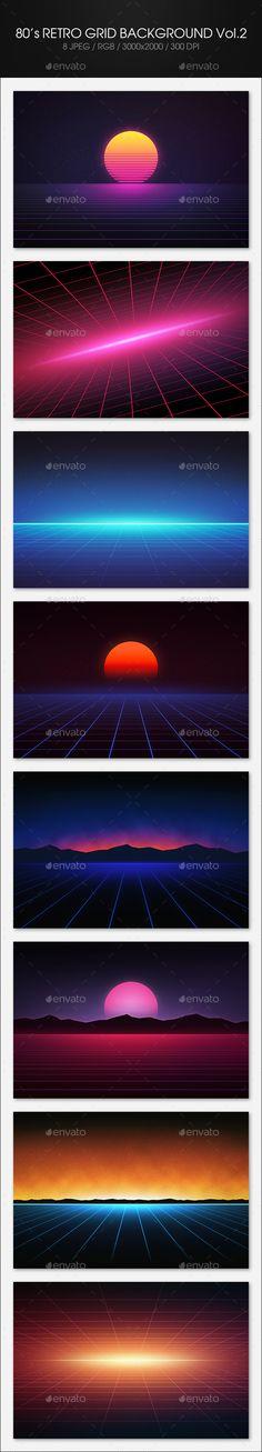 80's Retro Grid Background Vol.2 - Tech / Futuristic Backgrounds