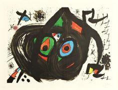 """Joan Miró Litografia """"Homenatge a Joan Prats""""  1971  65 x 85 cm Tirada de 75 ejemplares  Firmado y numerado a mano Certificada por el editor Mourlot nº 713 Precio: 7.000 euros"""