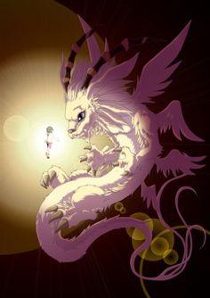 Digimon Adventure: Hikari (Kari) and Magnadramon (Holydramon)