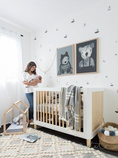 Black and white nursery with natural wood accents - petite interior co