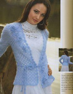 Blue Mohair Jacket free crochet graph pattern