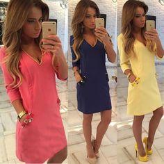 Fashion  Womens  Sleeve V Neck Pocket Party Dress Ladies Casual Mini Dress