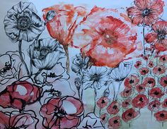 Lilli Rochford-Smith Mixed Media Poppies. Link to Portfolio. https://www.instagram.com/lillicup_design/?hl=en