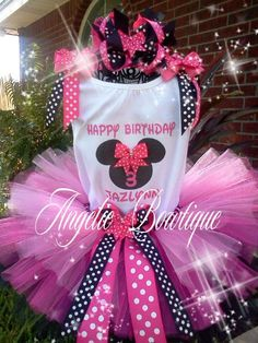 Minnie Mouse Tutu Set by AngelicBowtiqueShop on Etsy, $40.00 Minnie Mouse Birthday Theme, 2nd Birthday, Birthday Ideas, Mickey Mouse, Birthdays, Handmade Gifts, Party, Kids, Etsy