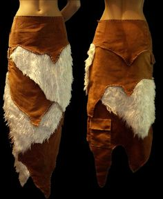 Brown chamois and artificial white fur viking skirt by Lynx007  I think this would be especially lovely in green and purple - to look like leaves and thistle down.