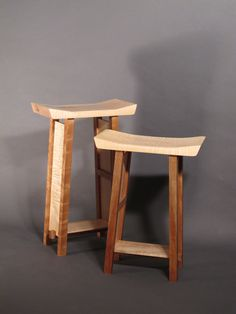 Counter Height Bar Stool/ Kitchen Stool/ Vanity Seat- Handmade Custom Wood Furniture- SHAPED COLLECTION