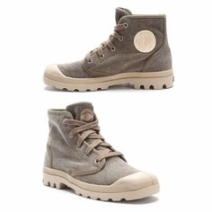 Palladium women's boots Authentic women's Palladium boots. Tan rubber with gray canvas. Worn only twice so very nice condition and super comfortable. Price firm!! Palladium Shoes Ankle Boots & Booties
