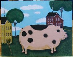 Original Folkart Painting on Canvas in Acrylics BIG PIG and Saltbox Houses Trees via Etsy