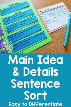 Main Idea and Details Sentence Sort - Thrifty in Third Grade Guided Math, Guided Reading, 3rd Grade Classroom, Classroom Ideas, Teaching Strategies, Teaching Ideas, Third Grade Reading, School Fun, School Ideas
