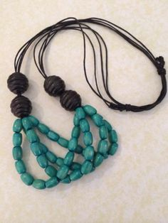 Turquoise And Black Colour Wooden Bead Necklace On Waxed Cord