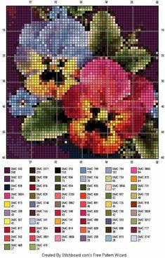 Pretty pansies X-stitch chart Mini Cross Stitch, Cross Stitch Needles, Cross Stitch Flowers, Cross Stitch Designs, Cross Stitch Patterns, Cross Stitching, Cross Stitch Embroidery, Owl Quilt Pattern, 123 Stitch
