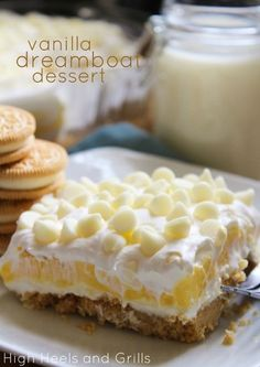 Made this for small group last night- delicious and easy!! Vanilla Dreamboat Dessert Delicious and creamy dessert