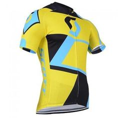 New Mens Summer Bike Riding Race Tops Wear Cycling Jersey Shirt Hot Short Sleeve Regular Full Zipper Fit Men Yellow Polyester Racing China